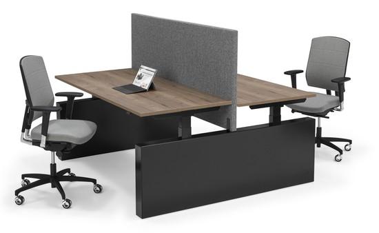 FLEX 3 BENCH zit-sta werkplek (elektrisch- verstelbaar) op WANGEN met akoestisch paneel